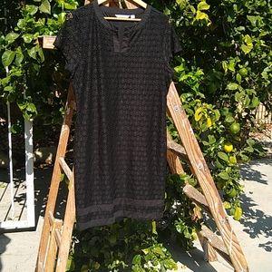 IsaacMizrahiLive! Tunic Lace Overlay Dress Black L